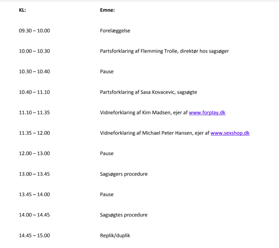 program for retssagen